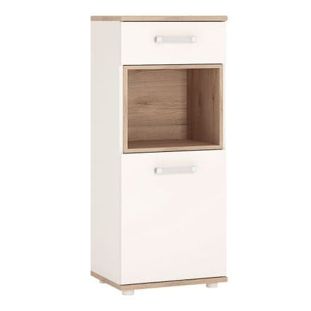 4KIDS 1 door 1 drawer narrow cabinet in light oak and white high gloss with opalino handles